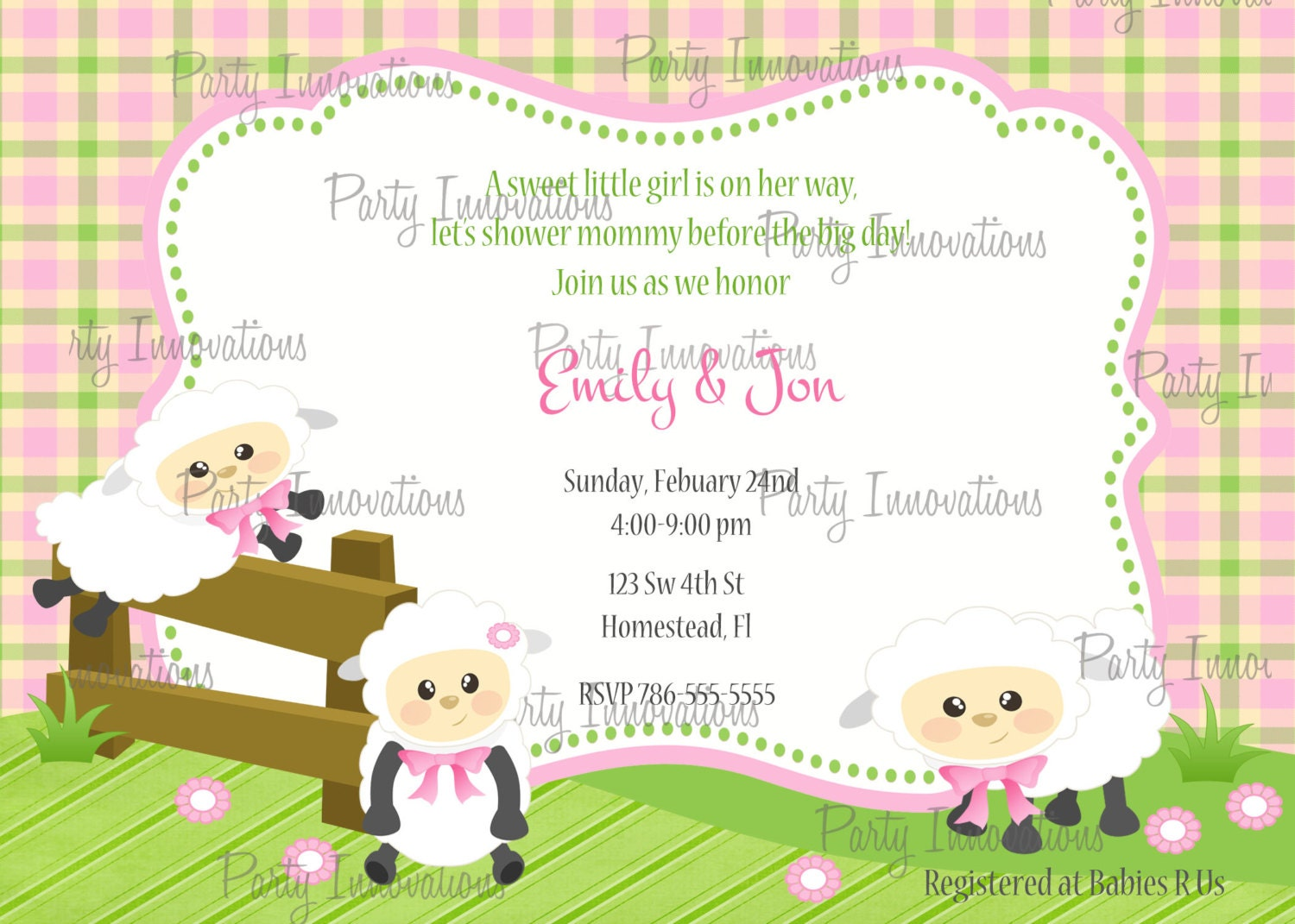 Baby Lamb Invitations is adorable invitation sample