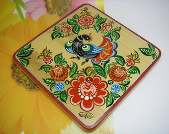 Wooden Cutting Board.Handmade Hand painted Russian folk style Gorodets painting.
