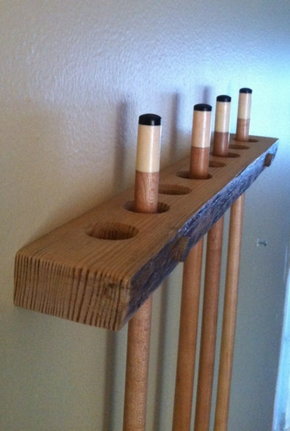 Pool Cue Rack Handmade Of Rustic Red Pine By Alongtheridge