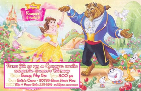 digital beauty and the beast invitation birthday baby shower custom