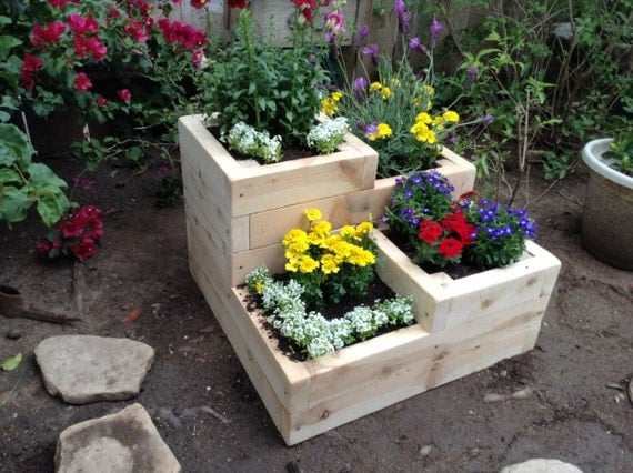 Items similar to four tier garden planter box for herbs for Tiered garden designs