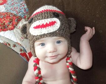 Sock Monkey Baby Knit Hat Newborn Photo Prop Sock Monkey Baby Boy Hat