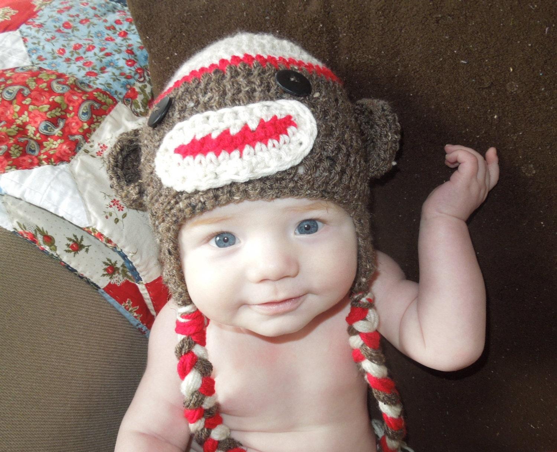 Sock Monkey Baby Knit Hat Newborn Photo Prop Sock Monkey Baby