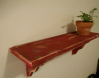 Distressed Red Shelf