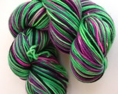 Mini Skein: Hulk Smash Self Striping- SW Merino/Nylon