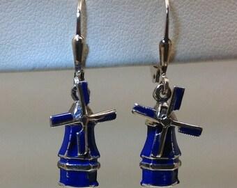Sterling enameled blue windmill earrings