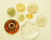 Bees Like These Vintage Buttons Lot of 8 Clear Plastic