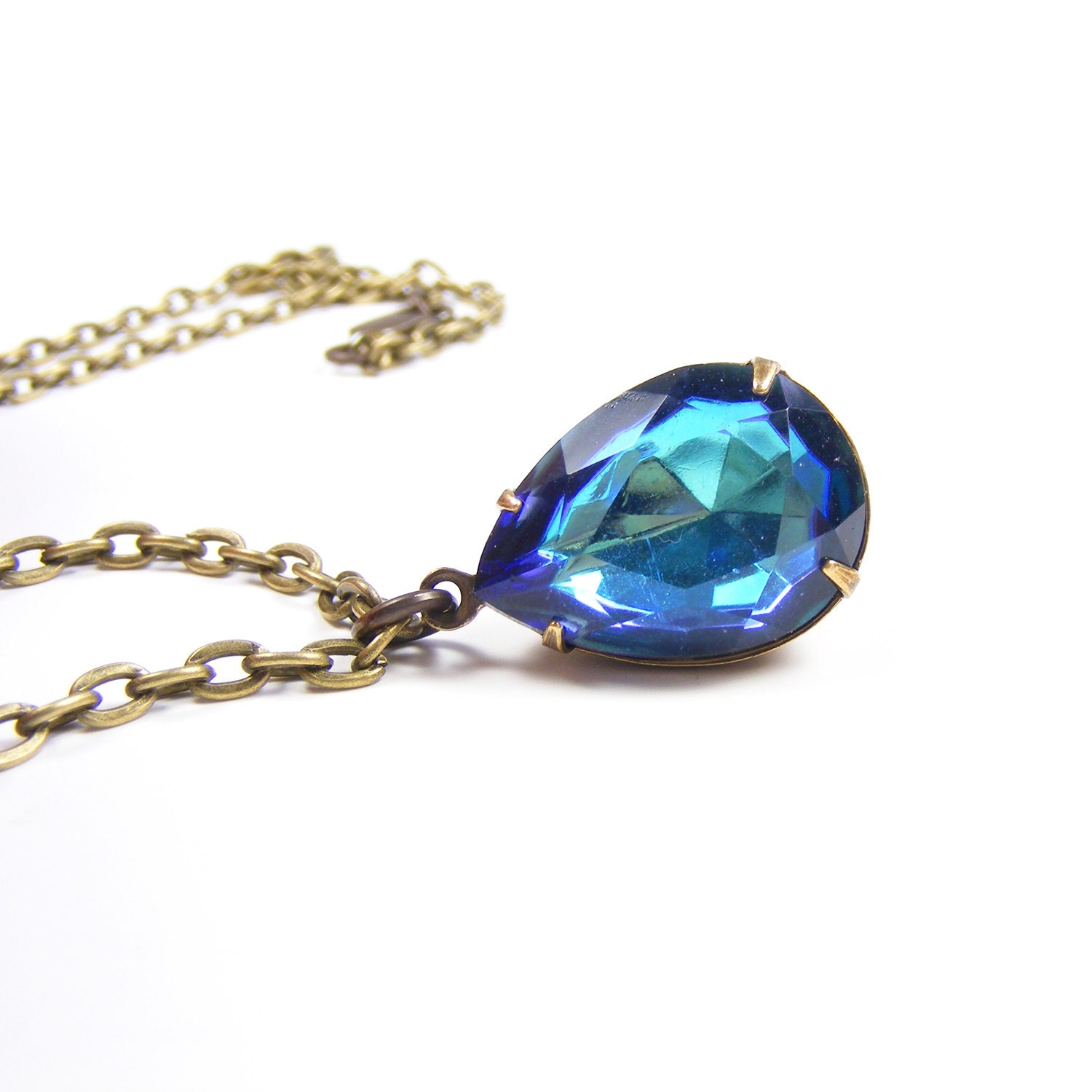 Blue Vintage Style Rhinestone Pendant, Downton Abbey Vintage Inspired Necklace, Bermuda Blue Vintage Rhinestone Teardrop Necklace