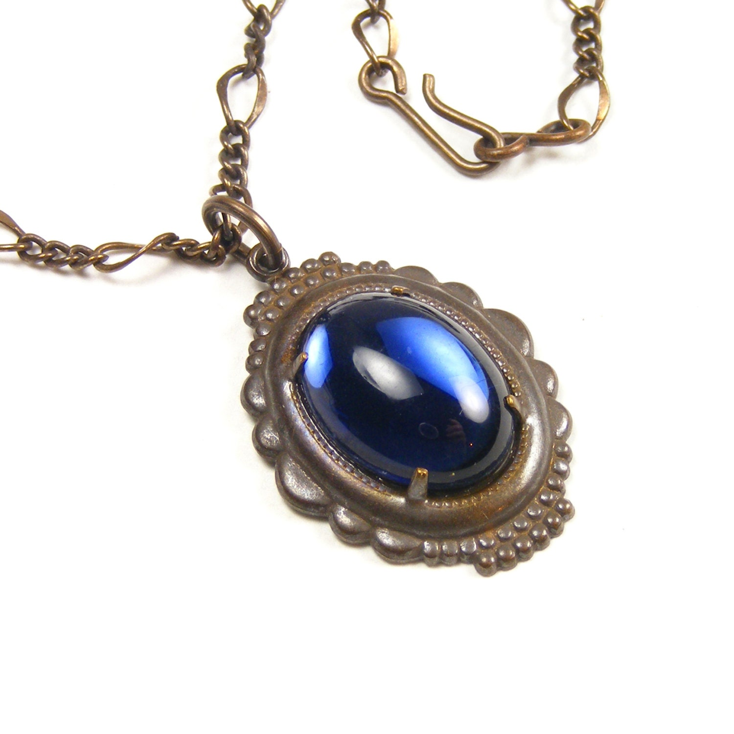 Deep Sapphire Blue Pendant, Edwardian Style Vintage Glass Necklace, Estate Style Jewelry, Inspired by Downton Abbey