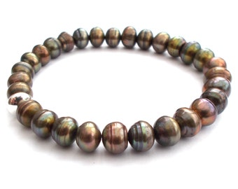Bronze Green Pearl Bracelet with Sterling Silver Bead - AA Grade 7 to 8mm Freshwater Pearls