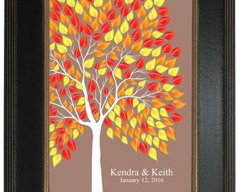 Modern Guest Book Alternative, Interactive Art Print, Personalized Print Art Print, 183 guest sign in - Custom Tree Art Print 20x30 - 125