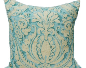 This listing is for a 22 x 22 Damask Arabesque-in Aqua- Pillow Cover