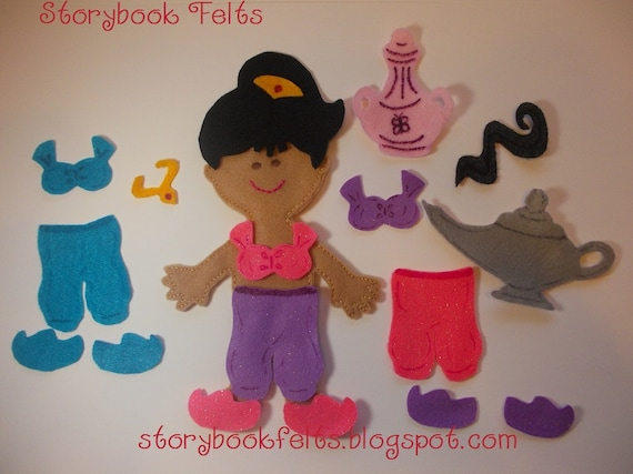 Storybook Felts Felt My Little Genie Doll Dress Up Set 19 PCS Paper Doll