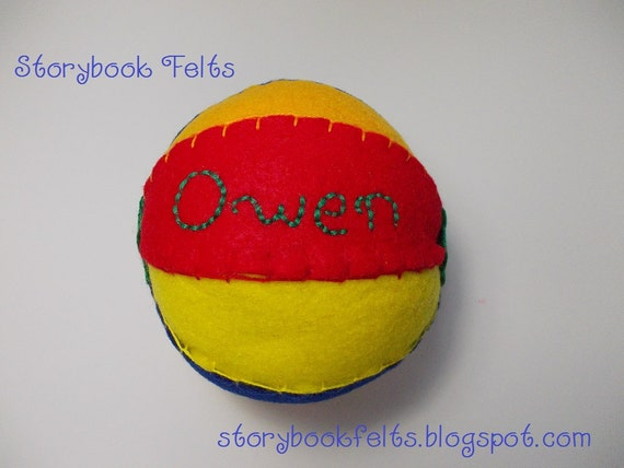Personalized Handstitched Felt Ball Just For Baby