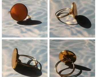 Brass Button Ring (Size 6)