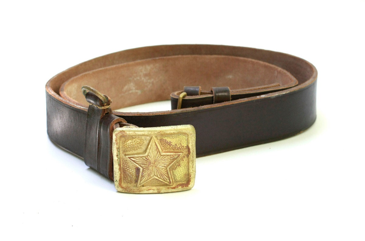 vintage army brown leather belt with by