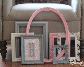 Baby Girl Nursery / Monogram Frame / Gallery Wall / Shabby Chic Decor / Distressed Picture Frame Set / Rose City Collection