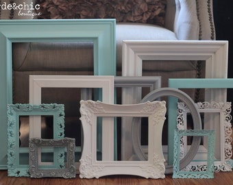 Shabby Chic Decor / 10 Piece Upcycled Distressed Custom Picture Frame Set / Hawthorne Collection / Open Frame Set