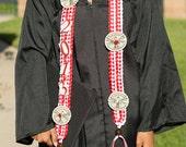 Abschluss Doppel Braid Geld Lei, rot weiß, wählen Sie Ihre Farben, Graduation stahlen, Ribbon Lei, Geburtstag, Abitur Geschenk