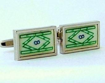 Mahjong '8 Bamboo' Cufflinks from a vintage 1920/30's bone & bamboo mahjong set tile