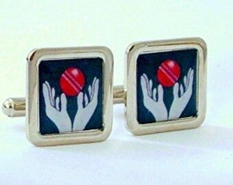 Cricket cufflinks The Catch