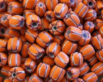 NEW-Crimson and Orange Chevron Glass Beads