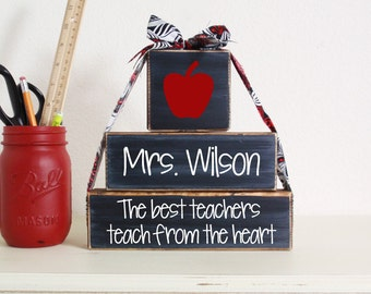 3- Block Stack The Best Teachers Teach From The Heart Custom Name-Painted Wooden Blocks-Country Decor-Shabby