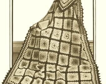 Vintage 30s Patchwork Crochet Afghan Pattern PDF  Instant Download Get It Now