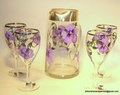 Hand Painted Pitcher Wine Glass Set Silver Rim Upcycled Purple Flower Mothers Day Gift Home Interior Design Wedding Decor Bridal Shower USA