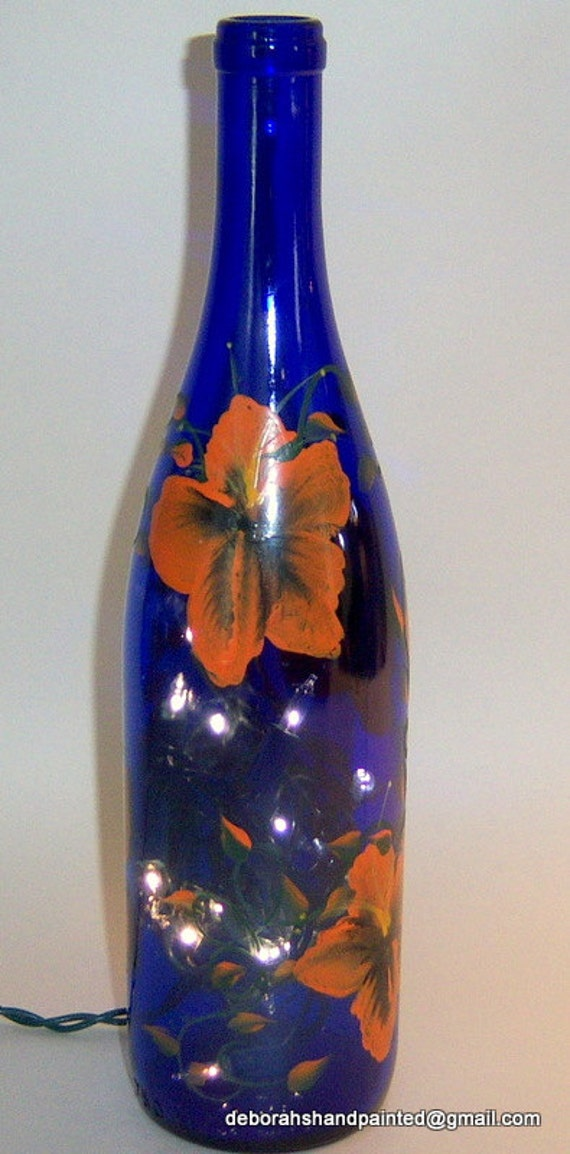 Items similar to hand painted wine bottle lamp cobalt blue for Painting flowers on wine bottles