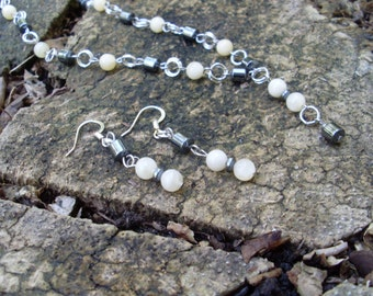 Calcite and Hematite Necklace & Earrings Set