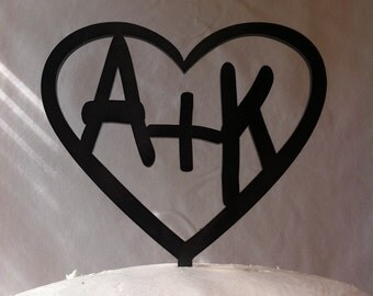 Carved Initials In A Heart Custom Personalized Wedding Cake Topper MADE In USA…..Ships from USA