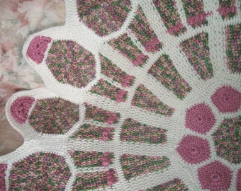 crochet stain glass rose window wall hanging