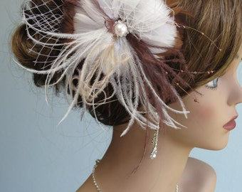 Feather Bridal Hair Clip Wedding Hair Clip  Wedding Accessory Ostrich Feathers Vail Pearl