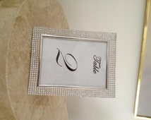 Bling Beveled Glass Picture Frames 5x7 Wedding, Photo Frame, Anniversary Table Decor,  Table Sign Frame, Set of 2