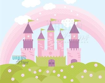 Princess Backdrop CASTLE 7 Ft X 6 Ft Vinyl Backdrop for Girls Photography, Birthday Photo Princess theme party idea