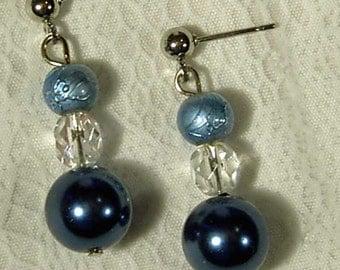 Cynthia Lynn BLUE Glass PEARL CRYSTAL Post Earrings - 1 inch