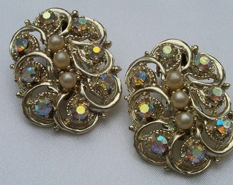 Vintage Pearl and Aurora Borealis earrings