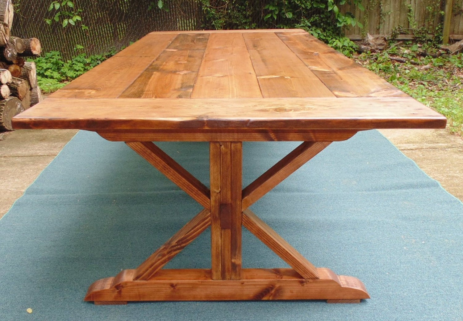 Farmhouse Trestle X Table by WonderlandWoodworks on Etsy