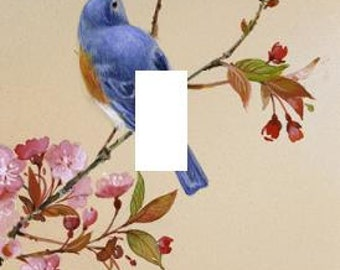 Blue Bird on Cherry Blossom Branch light switch plate elegant family room bedroom room home decor unique New