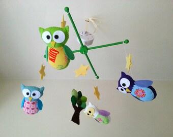 "Baby crib mobile, owl mobile, baby felt mobile ""My 1st owl - Midnight"""