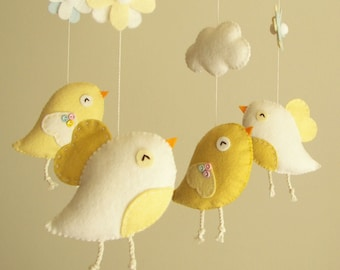 "Baby crib mobile, Bird mobile, felt mobile, nursery mobile, baby mobile, girl mobile ""Bird - yellow"""