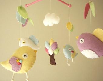 """Baby crib mobile, Bird mobile, felt mobile, nursery mobile, baby mobile,""""Bird - migi little tree 3"""""""