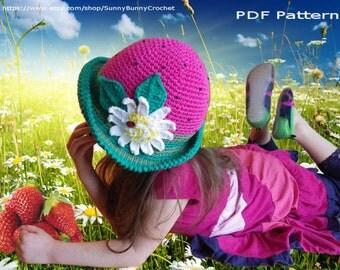 CROCHET HAT PATTERN, Children Crochet Pattern, Summer Crochet Hat, Strawberry Brimmed Hat Pattern, Daisy, Sun hat, Kids hat, Girl hat, Adult