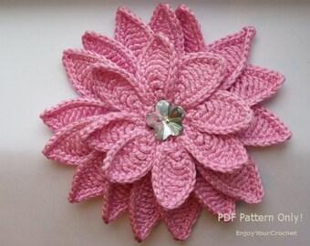 Crochet Flower Pattern, Crochet Flower  Aster, Flower Applique, Crochet Headband, Brooch, Floral, Crochet Hat, Fall flower, 3D Flower