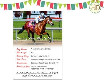Horse Racing Birthday Invitation, Racing Birthday Party Invitation, Horse Track Invitation