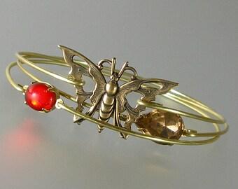 Gold Butterfly Bangle Bracelet Set, Gold Bangle Bracelet, Gold Butterfly Bracelet, Bridesmaid Gift (S192G)