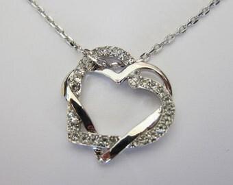 Shiny Rhodium Swirl Rhinestone Heart Necklace, Boyfriend Girlfriend Necklace, Bridesmaid gift, Sister gift