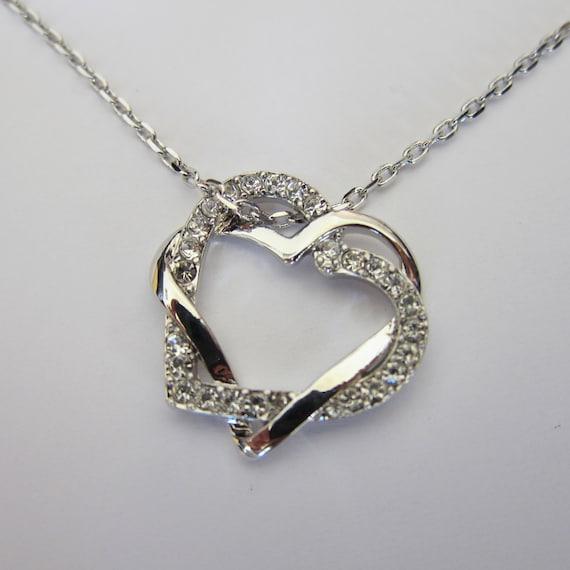 shiny rhodium swirl rhinestone heart necklace boyfriend
