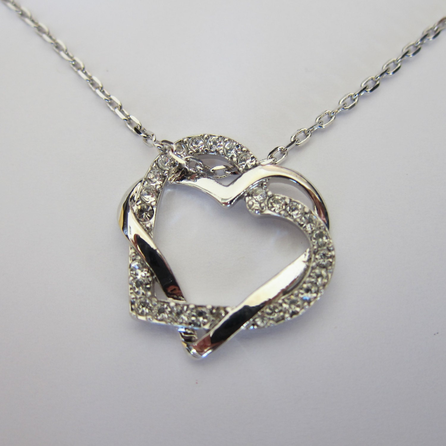 Shiny Rhodium Swirl Rhinestone Heart Necklace Boyfriend